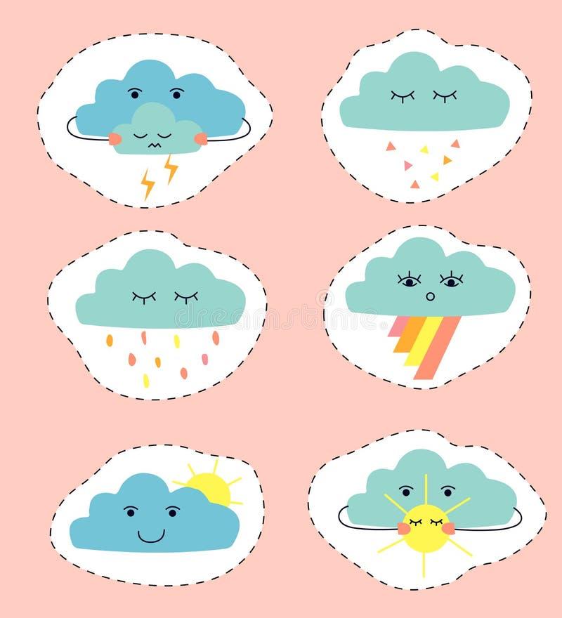Tiragem das nuvens sob a forma das etiquetas Grupo de nuvens bonitos dos desenhos animados ilustração royalty free