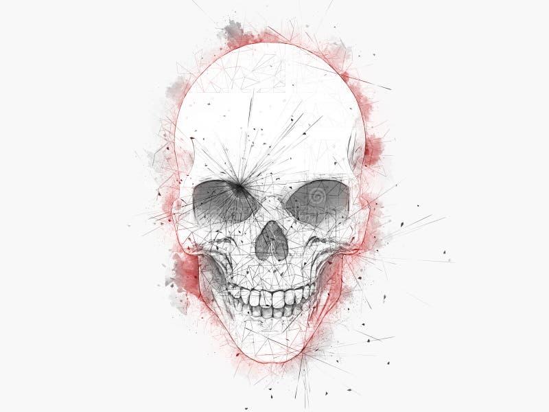 Tiragem de Minimalistic de um crânio com esboços da cor de água vermelha ilustração stock