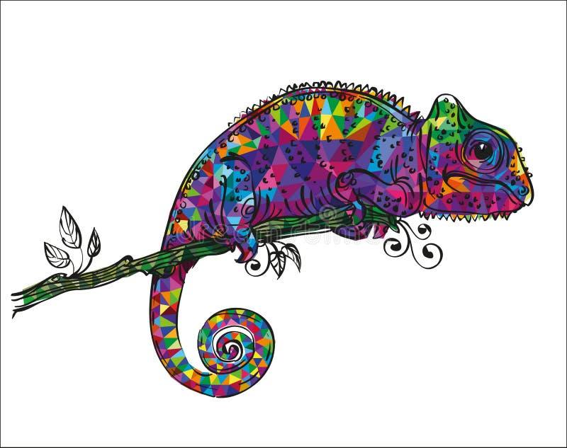 Tiragem de um camaleão colorido ilustração stock