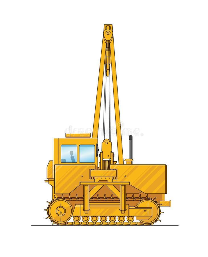 Tiragem de um guindaste de construção Ilustração do equipamento especial Jogo dos ícones Ilustração de surpresa para o Web site,  ilustração do vetor