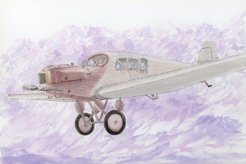 Tiragem Junkers inteiramente metálicos F-13 dos primeiros de um avião de passageiro na mosca ilustração stock