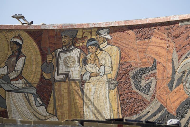 Tiragem no memorial de Zaisan no Mongolian imagem de stock