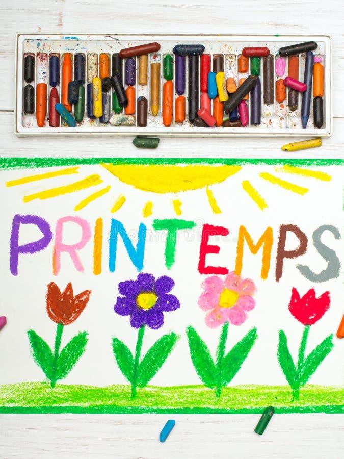 Tiragem: O francês exprime a mola de Printemps e flowes bonitos ilustração do vetor