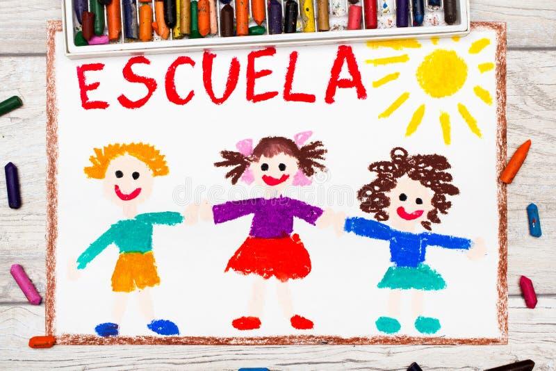 tiragem: Palavra espanhola ESCOLA e crianças felizes ilustração stock