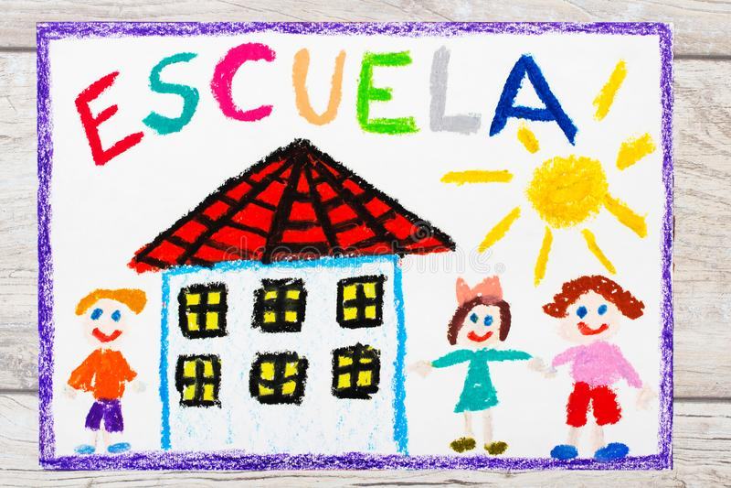 Tiragem: Palavra espanhola ESCOLA, prédio da escola e crianças felizes Primeiro dia na escola ilustração do vetor
