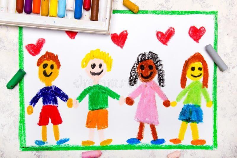 Tiragem: Um grupo de amigos internacionais felizes ilustração stock