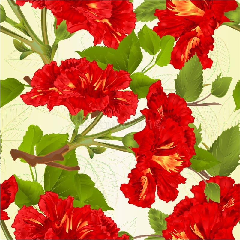 Tiraggio botanico della mano dell'illustrazione di struttura dei rami dell'ibisco dei fiori di vettore d'annata tropicale rosso s royalty illustrazione gratis