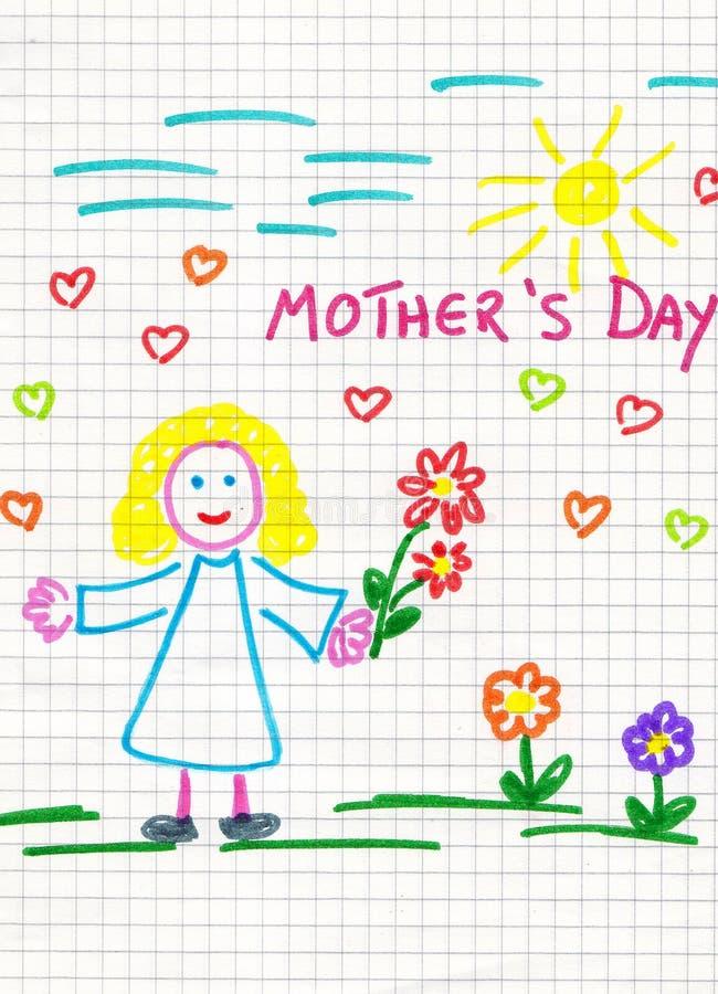 Tiraggio del bambino di giorno della madre illustrazione vettoriale