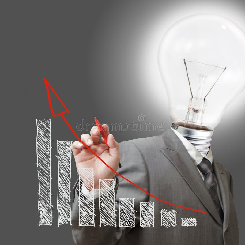 Tiraggio dell'uomo della lampadina un affare del grafico fotografia stock