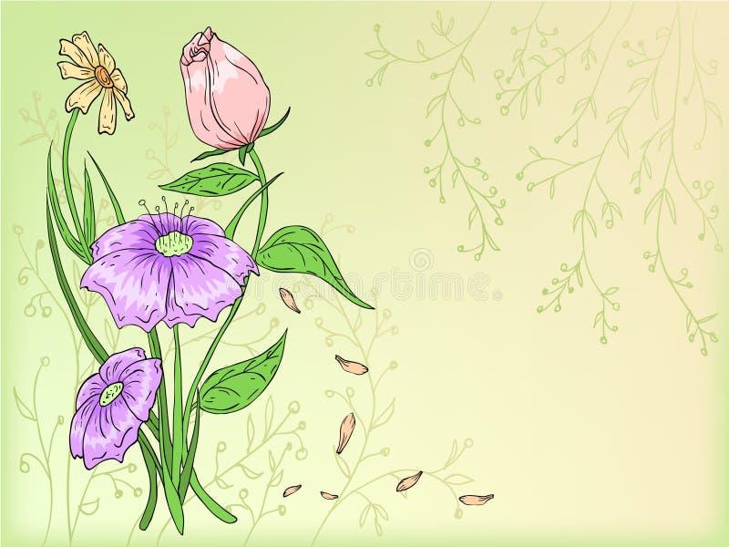 Tiraggio della mano dei fiori di vettore con priorità bassa illustrazione di stock