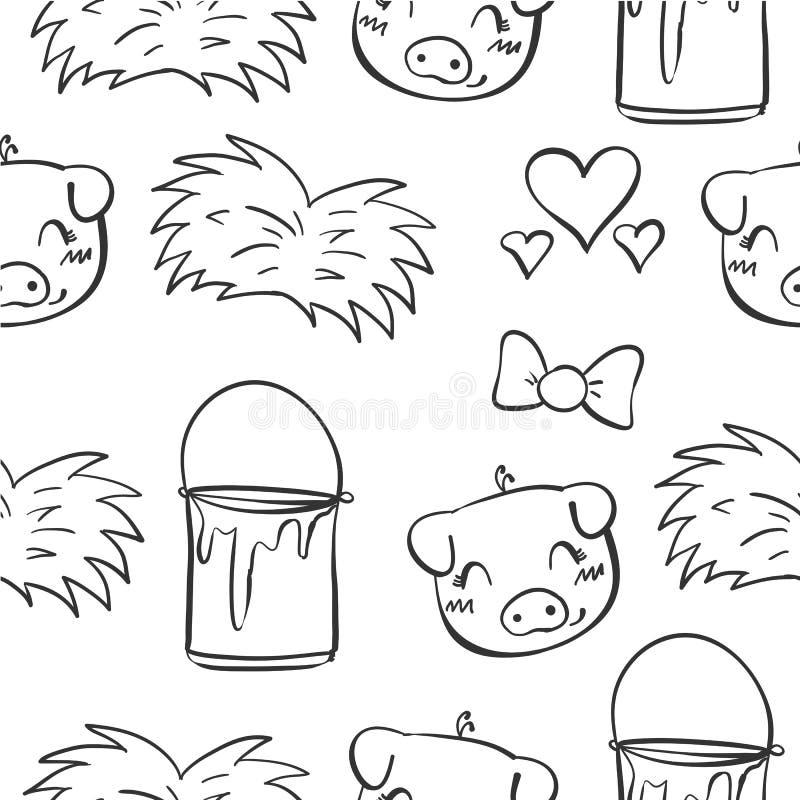 Tiraggio della mano del maiale e di erba di scarabocchio royalty illustrazione gratis
