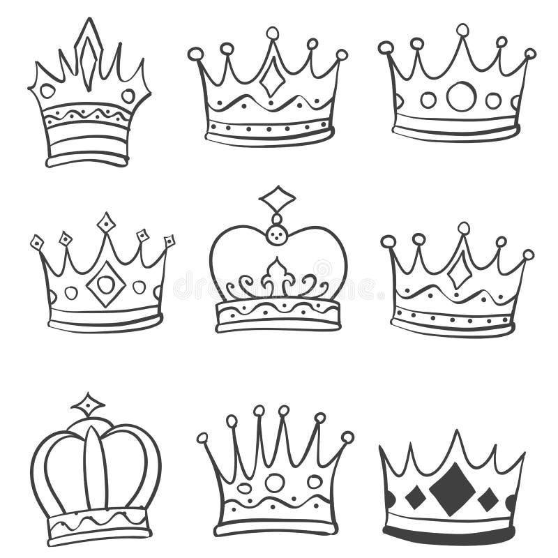 Tiraggio della mano di scarabocchio di stile della corona vario illustrazione vettoriale