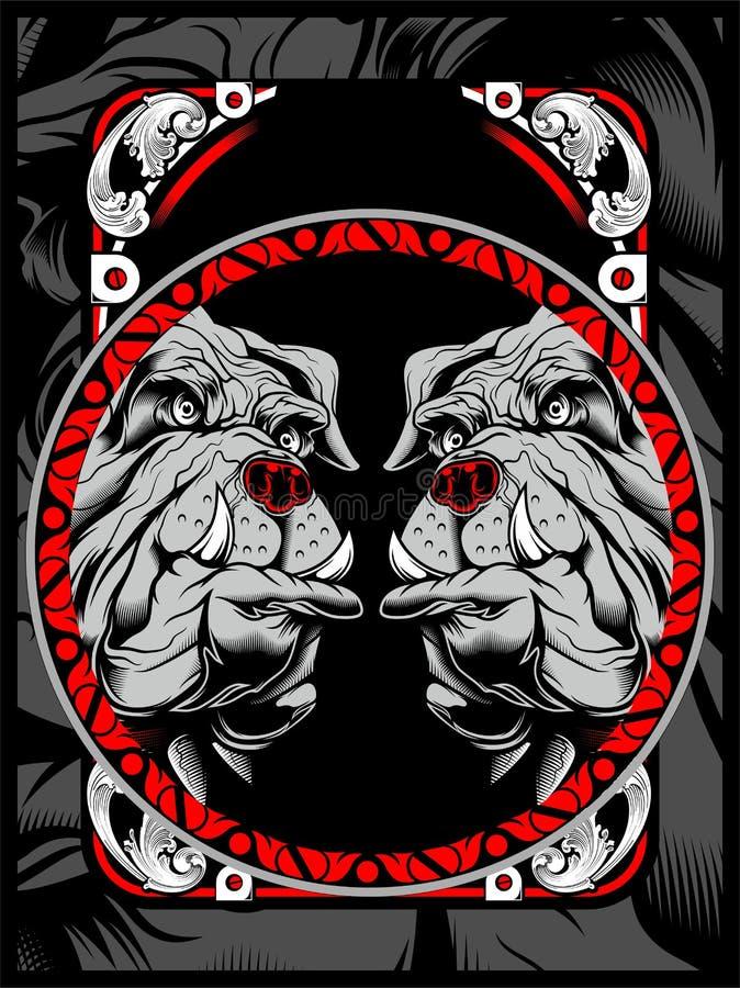 Tiraggio della mano di vettore di due bulldog royalty illustrazione gratis