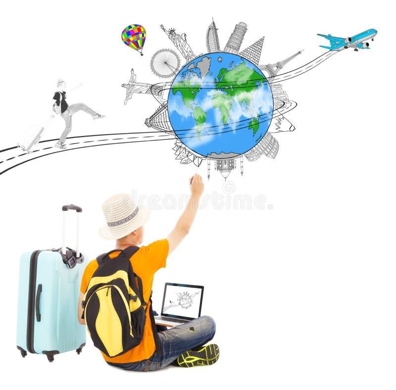 Tiraggio di viaggiatore con zaino e sacco a pelo una pianificazione di viaggio di viaggio illustrazione vettoriale
