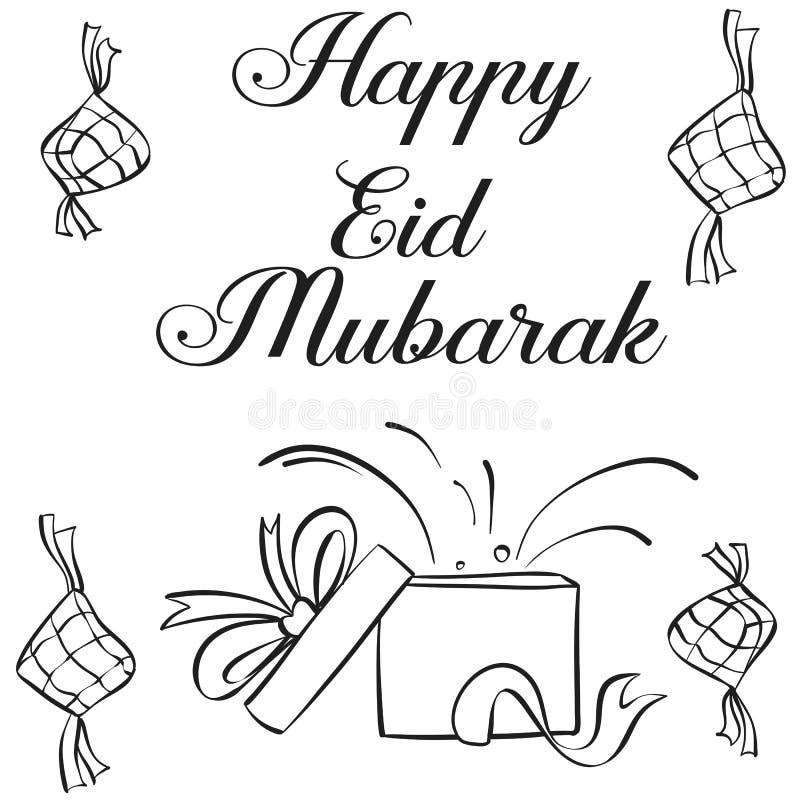 Tiraggio felice della mano di Eid Mubarak royalty illustrazione gratis
