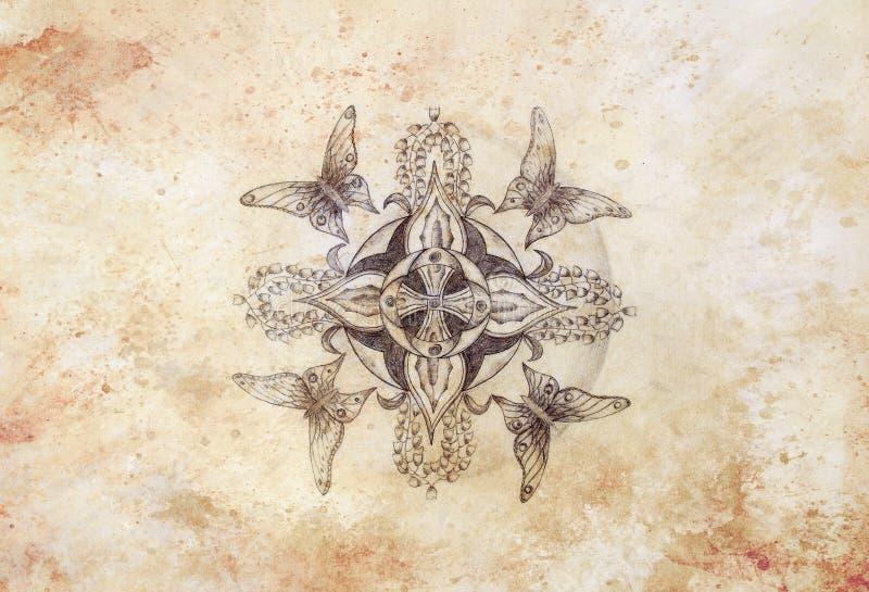 Tiraggio originale della mano Mandala dell'ornamentale e della farfalla con il fiore e la vecchia struttura di carta d'annata col illustrazione vettoriale