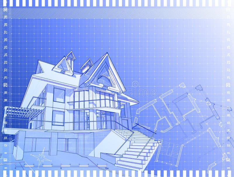 Tiraggio tecnico architettonico illustrazione di stock