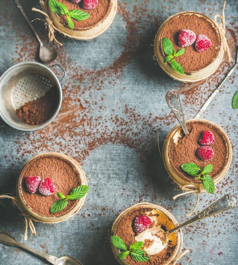 Tiramisù casalingo in vetri, spazio del dessert della copia immagini stock