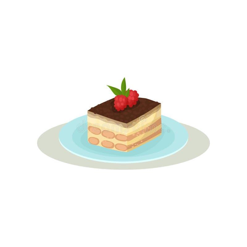 Tiramisu avec le lustre de café et deux framboises sur le dessus Dessert italien appétissant Nourriture douce Icône plate colorée illustration stock