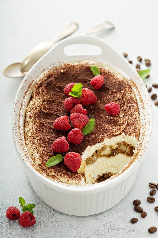 Free Tiramisu Cake In A Ceramic Dish Royalty Free Stock Photography - 123018227