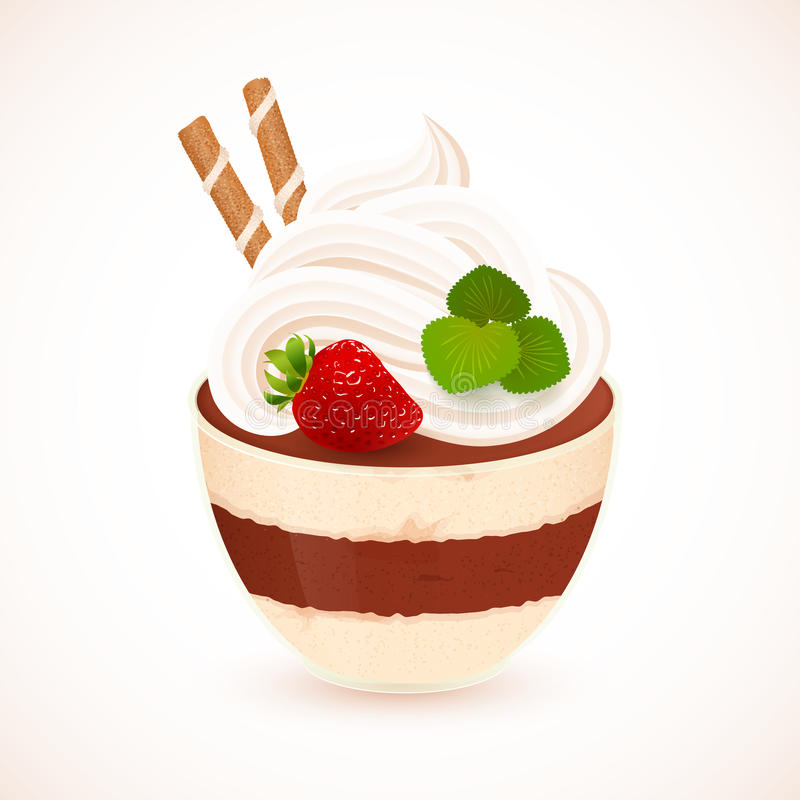 Download Tiramisu Creamy Dessert In Glass Cup Stock Vector - Illustration of creamy, decoration: 39500384