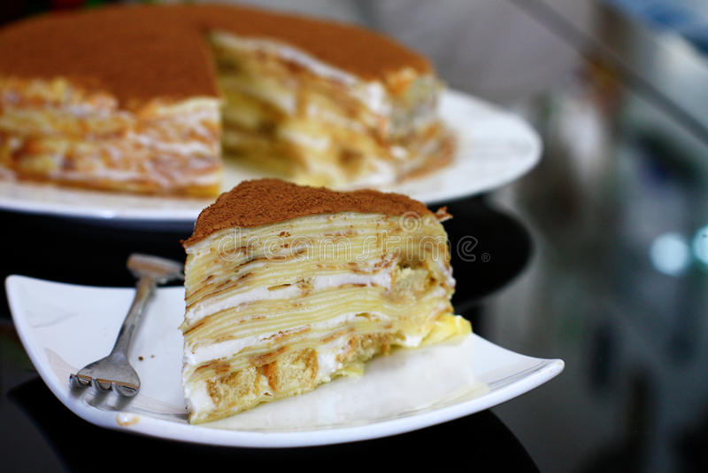 Tiramisu Crepe. Crepe cake with Tiramisu flavor for tea time royalty free stock photography