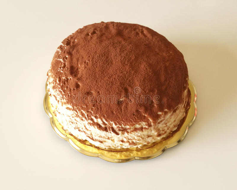 Tiramisu crepes cake. Crepes cake with real italian tiramisu cream stock image