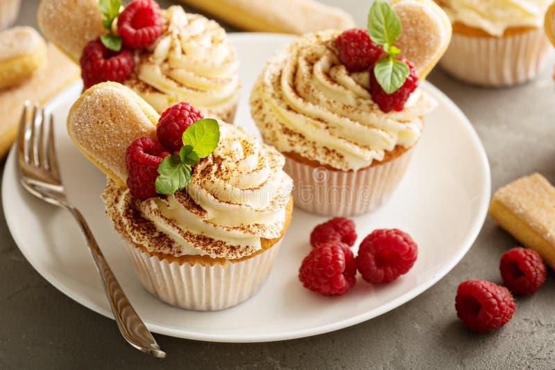 Tiramisu cupcakes met mascarponeroom royalty-vrije stock fotografie