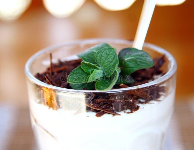 Tiramisu de dessert de plan rapproché dans la cuvette en verre image libre de droits