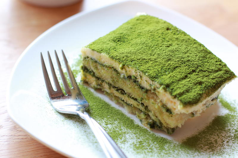 Tiramisu de Matcha do chá verde fotos de stock royalty free