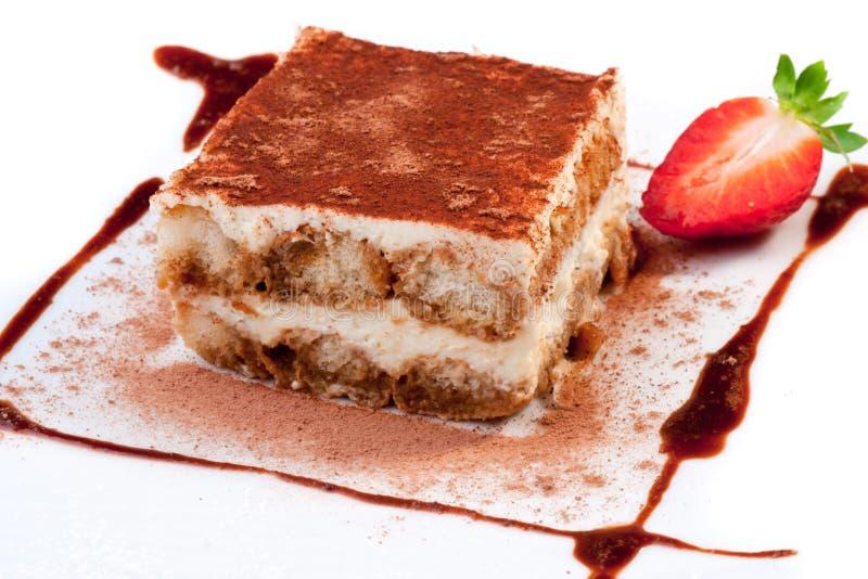 Tiramisu Dessert. Homemade Tiramisu dessert served on plate with decoration stock images