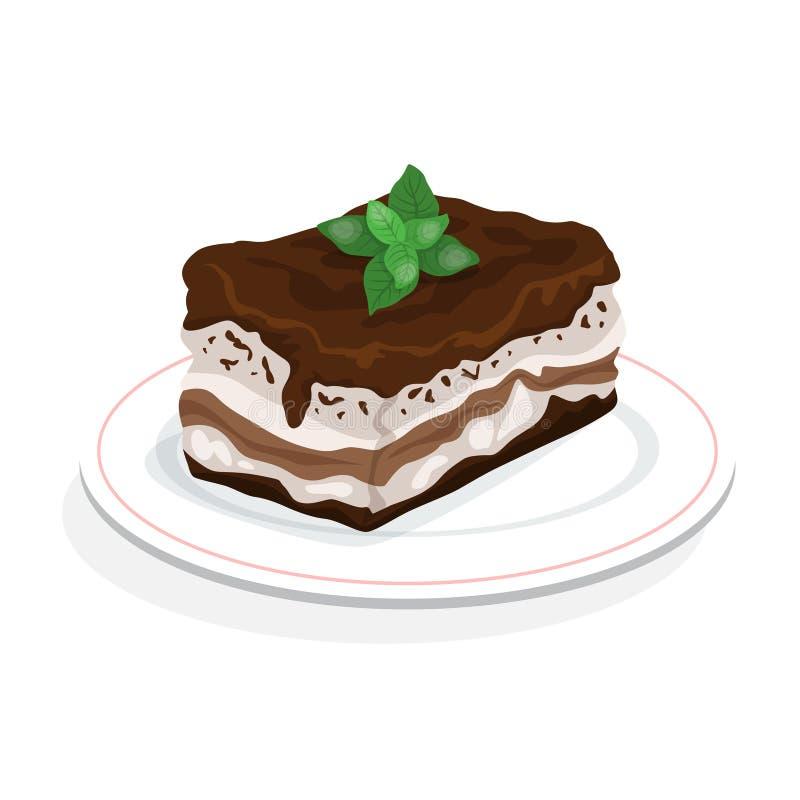 Tiramisu dessert. Delicious cake, sweet slice of restaurant bakery. Isolated vector illustration in cartoon style royalty free illustration