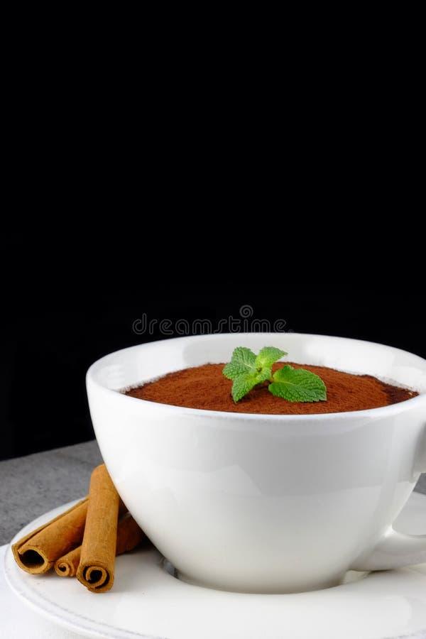 Tiramisu, dessert italien traditionnel dans une grande tasse blanche image libre de droits