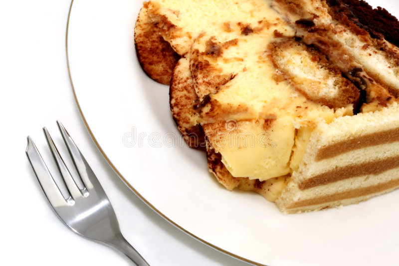 Download Tiramisu Dessert On A White Plate Stock Image - Image: 1503715