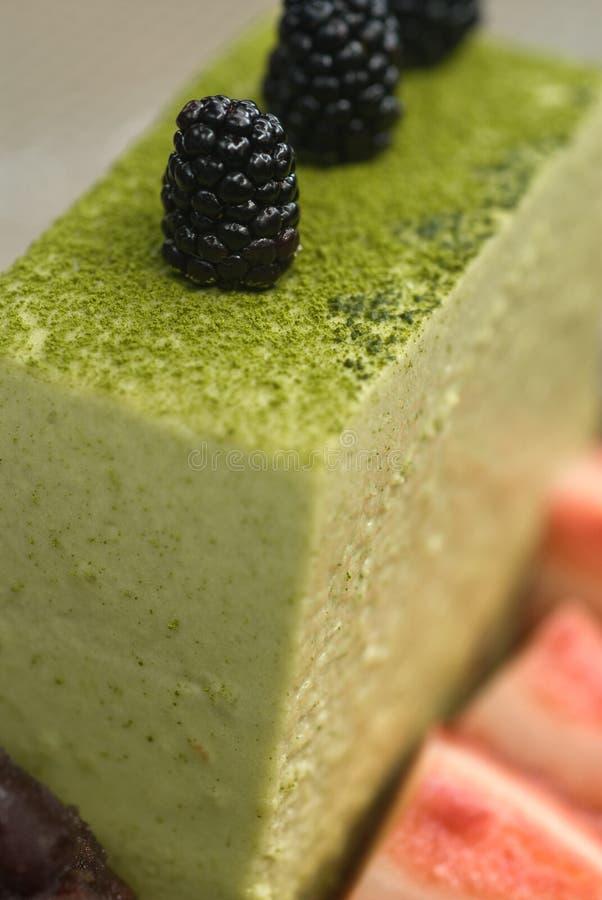 tiramisu för grön tea arkivbild