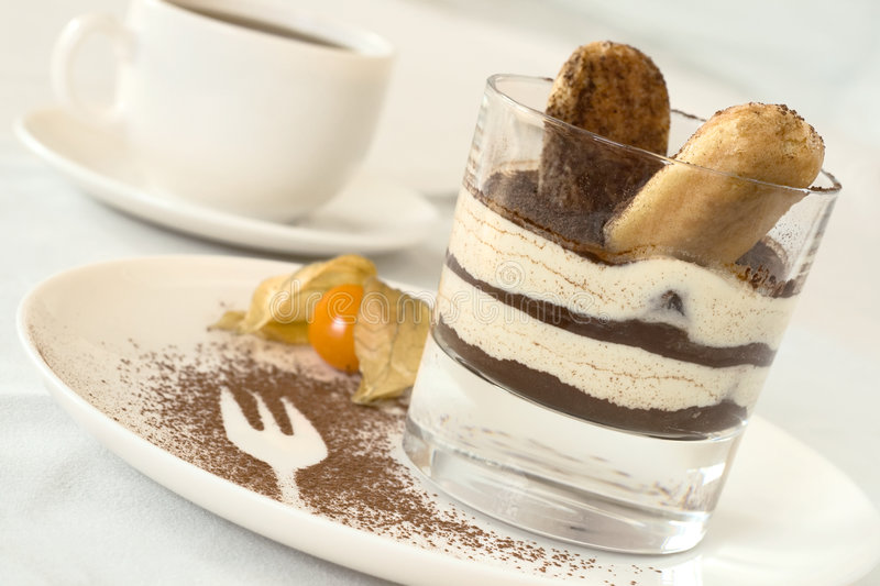 Tiramisu in a glass stock photos