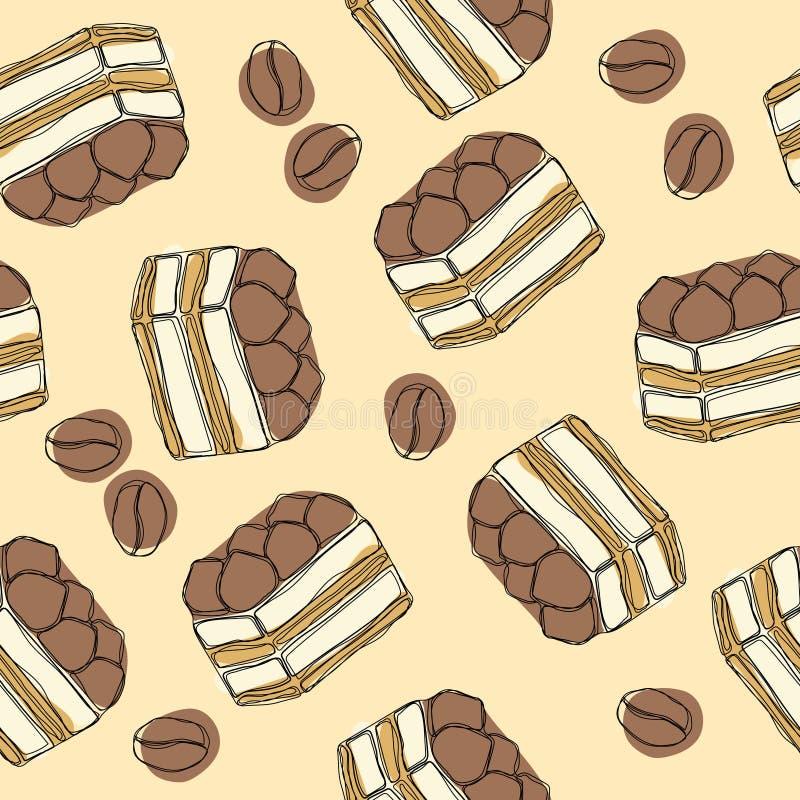 Tiramisu - klassischer Nachtisch mit mascarpone und Kaffee Nahtloses Muster des Handabgehobenen betrages mit Tiramisu vektor abbildung