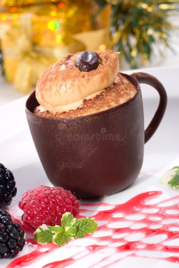 Tiramisu Kuchen im Schokoladencup lizenzfreie stockfotos