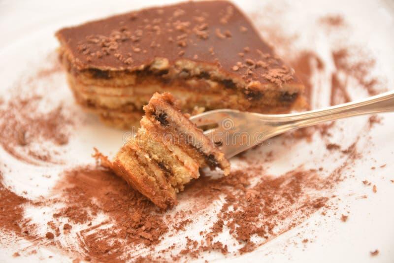 Tiramisu traditional italian dessert whit cocoa on table royalty free stock image