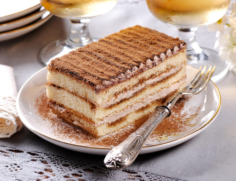 Tiramisu, un dessert italien traditionnel image stock