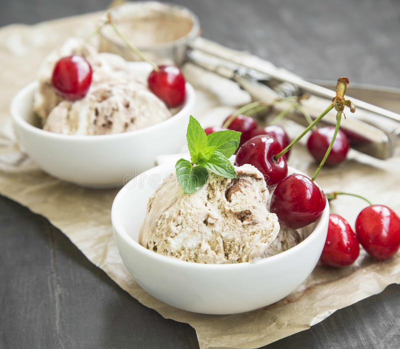 TiramisuIcecreamCloseup med Cherry Fruits och mintkaramellen arkivfoto