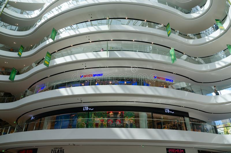 Interior view of modern shopping center Toptani, Tirana, Albania royalty free stock photo