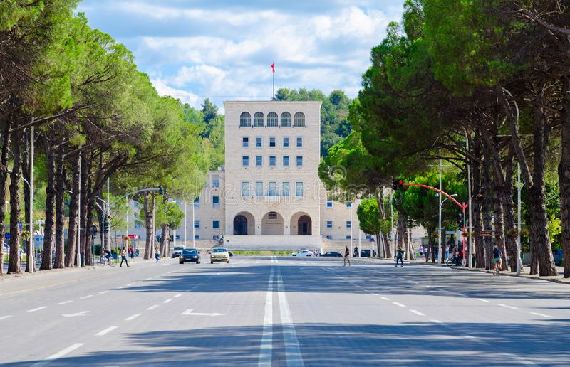 Polytechnic University of Tirana, boulevard of Martyrs, Albania stock image