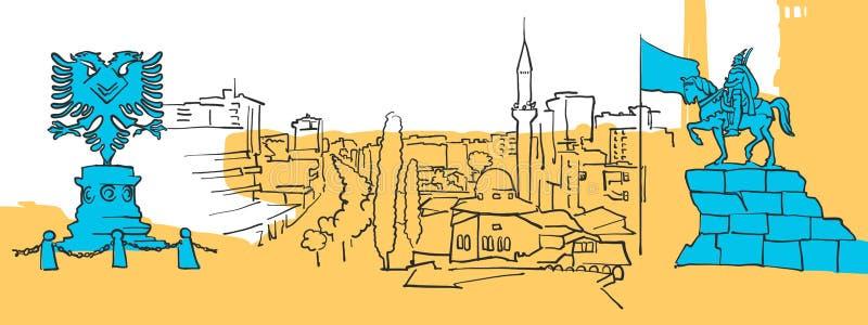 Tirana Albanien kulör panorama stock illustrationer