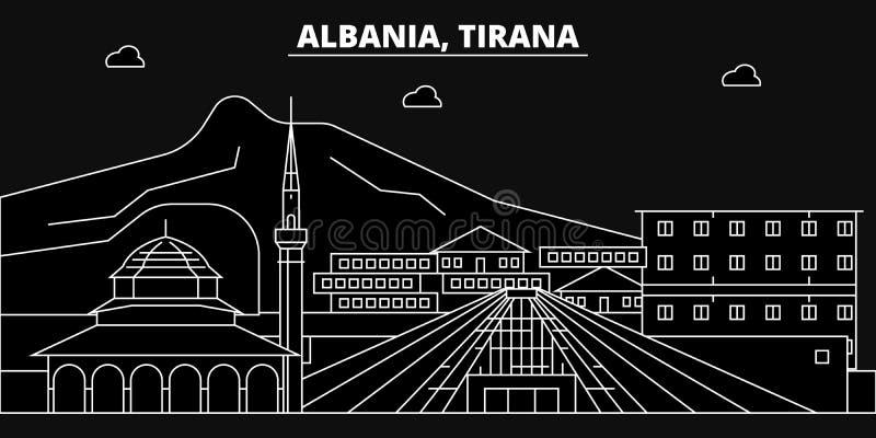 Tirana konturhorisont Albanien - Tirana vektorstad, albanian linjär arkitektur, byggnader Tirana lopp vektor illustrationer
