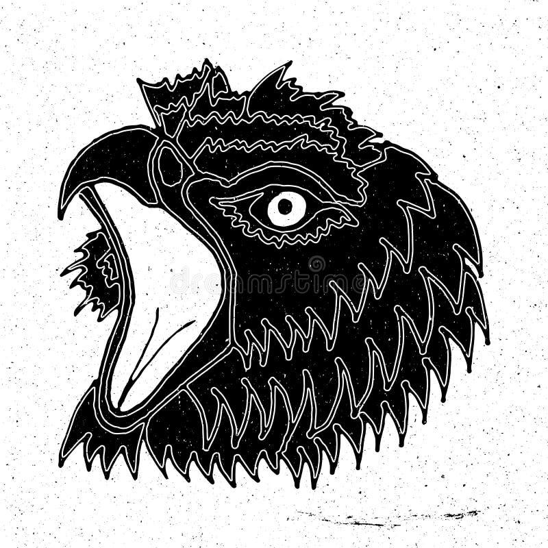 Tirando a cabeça de uma águia gritando ilustração stock
