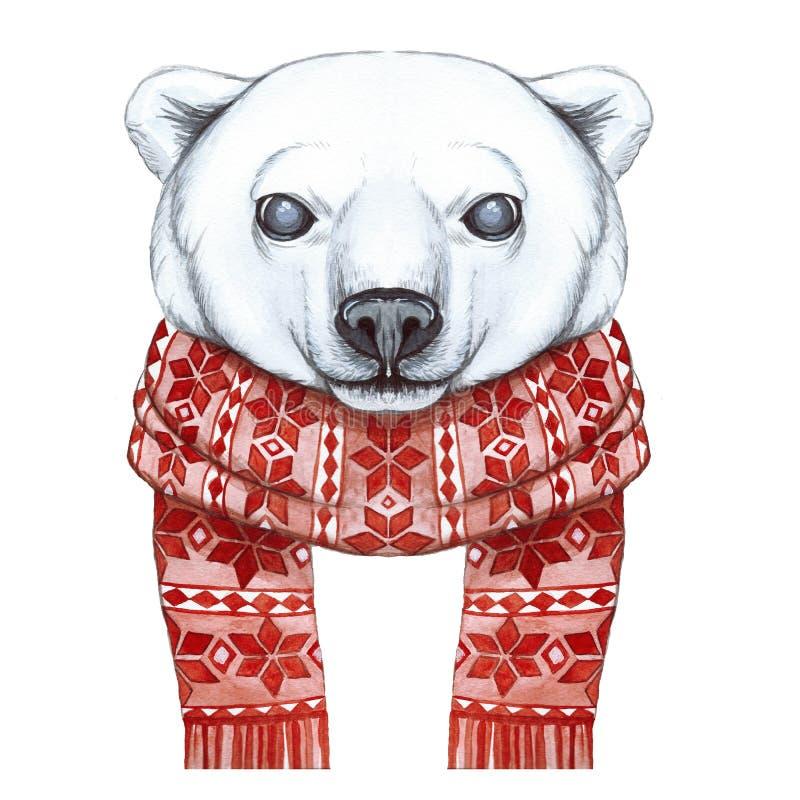 Tirando com uma aquarela de um urso polar na técnica de uns desenhos animados, em um tema do ano novo, Natal, em um lenço feito m ilustração royalty free