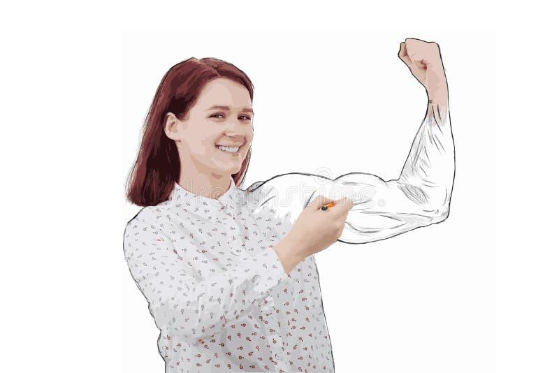 Tirando seus músculos ilustração stock
