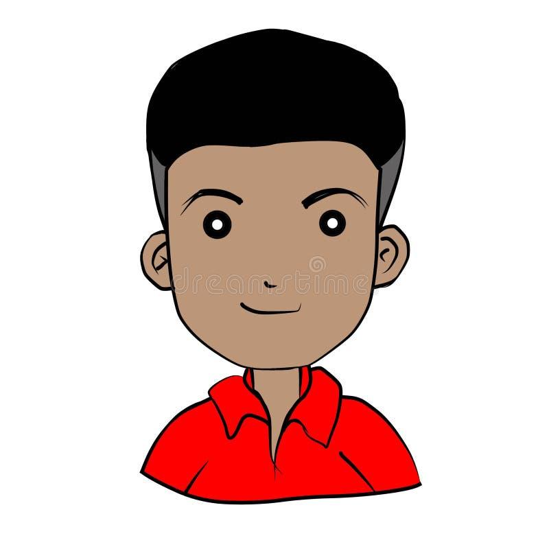 Tirando um menino que veste um vermelho no fundo branco ilustração do vetor