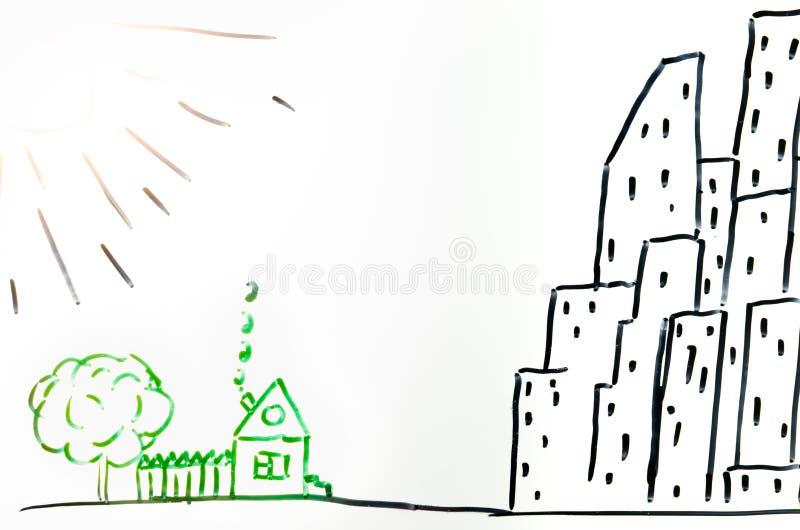 Tirando uma casa na vila e na cidade imagens de stock royalty free